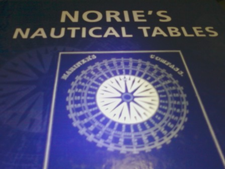 My Norie's Nautical Tables, used for Navigation solutions.