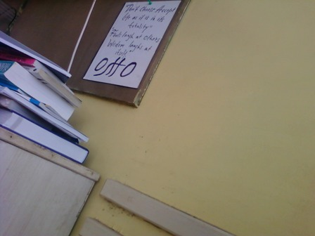 my study table, with osho's message at the board, exam time!